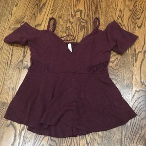 Free people maroon top size small